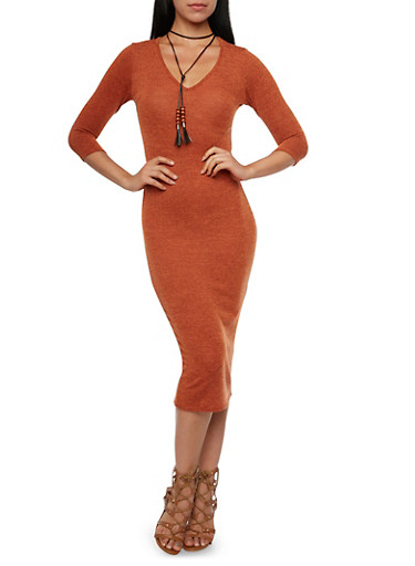 Soft Knit V Neck Midi Dress with Beaded Choker,RUST,large
