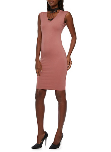 Knit Bodycon Dress with Lace Choker Necklace,MAUVE,large