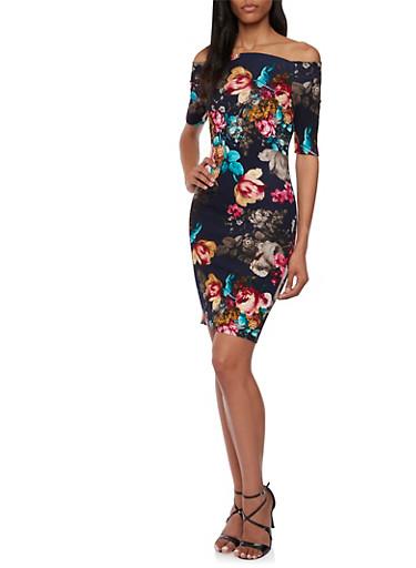 Off the Shoulder Dress in Floral Print,NAVY,large