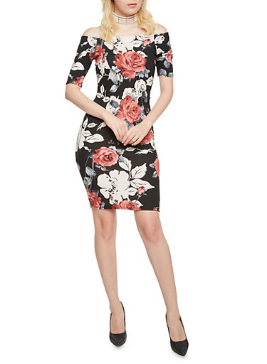 Off the Shoulder Bodycon Dress in Floral Print,BLACK,large