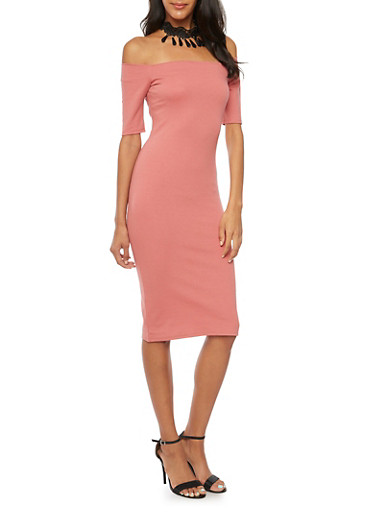 Off The Shoulder Midi Dress with Choker Necklace,MAUVE,large