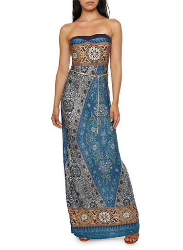 Strapless Maxi Dress in Ornate Print with Chain Belt,NAVY/MUSTARD,large