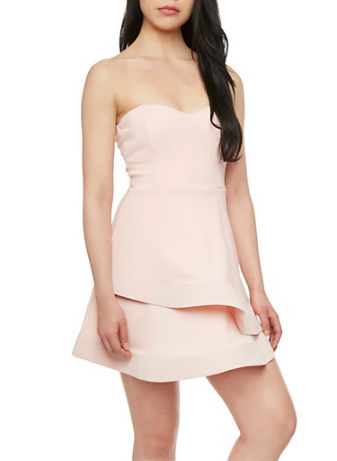 Strapless Dress with Structured Layer,BLUSH,large