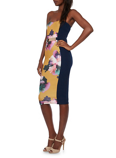Sweetheart Bodycon Midi Dress with Floral Print and Belt,MUSTARD/NAVY,large