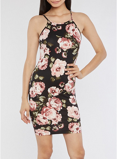 Large Floral Pattern Bodycon Dress,BLACK,large