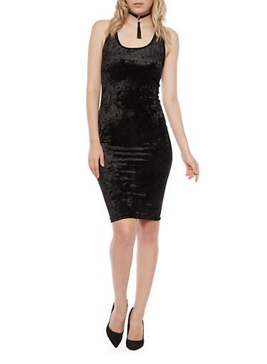 Sleeveless Velvet Racer Back Bodycon Dress,BLACK,large