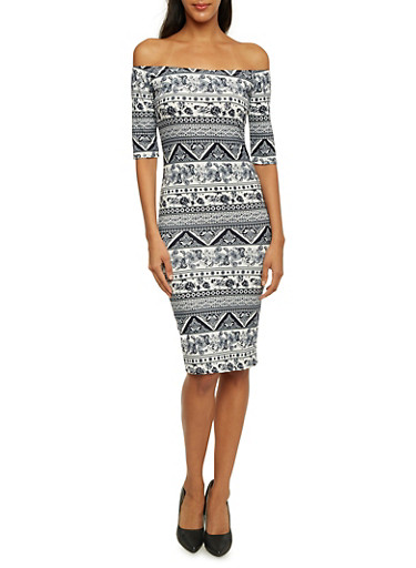 Off The Shoulder Midi Dress in Ornate Paisley Print,WHITE NVY,large