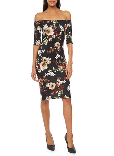 Off The Shoulder Midi Dress in Floral Print,BLACK,large