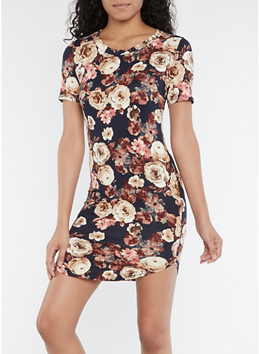 Short Sleeve Floral Print Round Hem Dress,NAVY,large