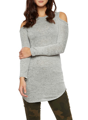 Knit Cold Shoulder Dress with Long Sleeves,HEATHER,large