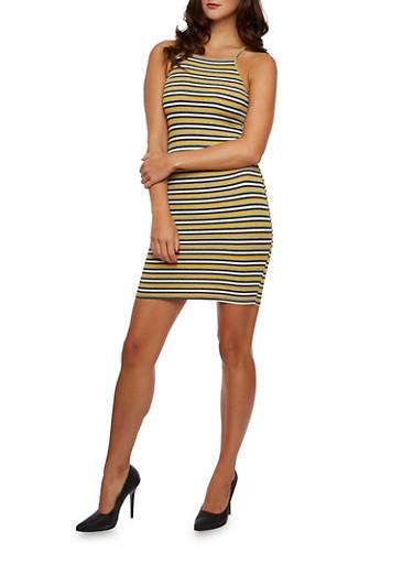 Mini Tank Dress in Stripes,MUSTARD,large