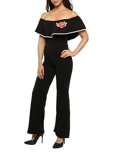Off the Shoulder Contrast Trim Jumpsuit,BLACK,large