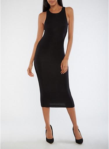 Sleeveless Solid Midi Dress,BLACK,large