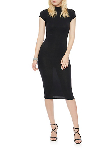 Bodycon Midi Dress with Cap Sleeves,BLACK,large
