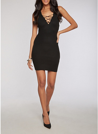 Rib Knit Lace Up Bodycon Dress at Rainbow Shops in Jacksonville, FL | Tuggl
