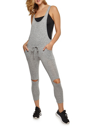Sleeveless Jumpsuit with Slit Knees,HEATHER,large