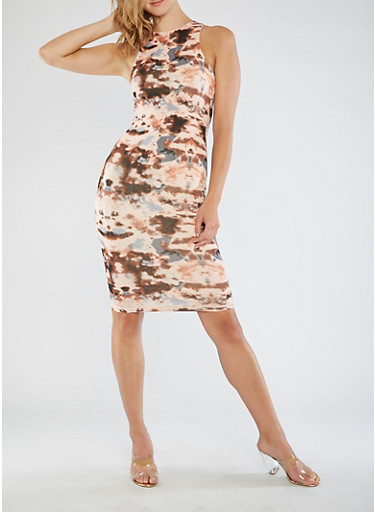Sleeveless Tie Dye Bodycon Dress,BROWN,large