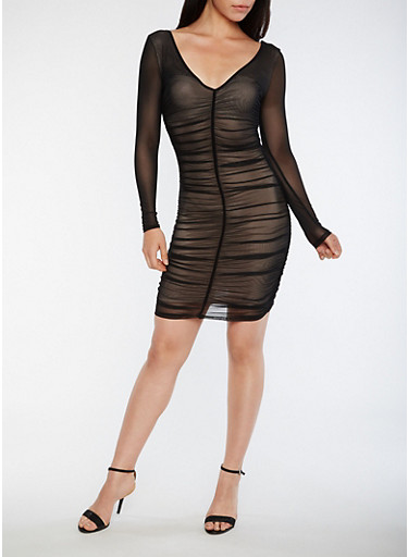 Ruched Mesh Bodycon Dress,BLACK,large