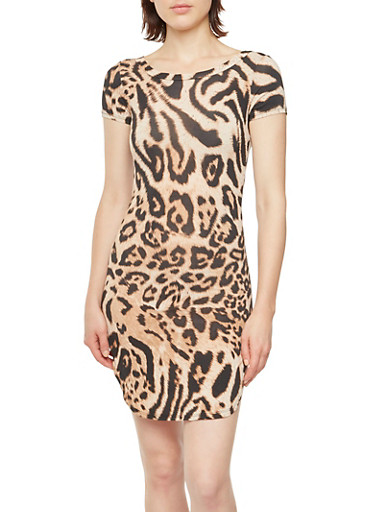Leopard Print T-Shirt Dress with Side Slits,BROWN,large