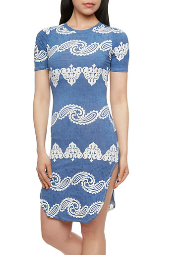 Paisley Bodycon Dress with Denim-Effect Stripes,BLUE,large