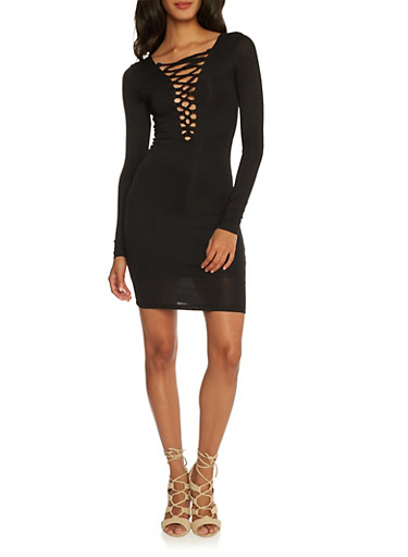 Bodycon Dress with Corset V-Neck,BLACK,large