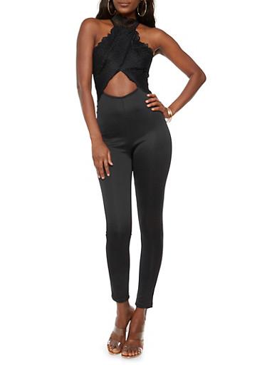 Open Back Lace Jumpsuit,BLACK,large