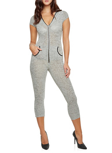 Knit Hooded Jumpsuit with Zip Front,HEATHER,large