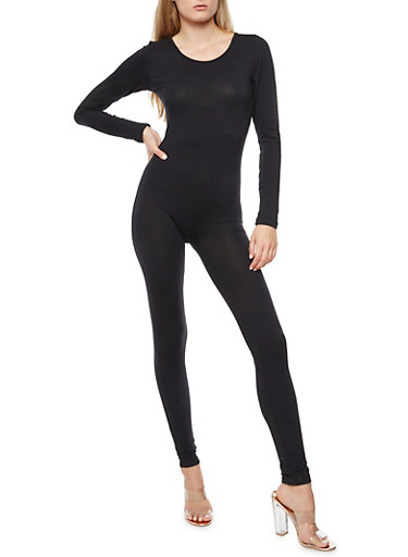 Solid Long Sleeve Catsuit,BLACK,large