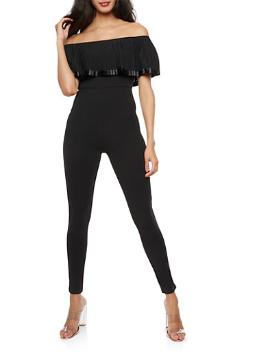 Off the Shoulder Pleated Overlay Jumpsuit,BLACK,large