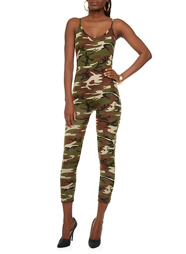 Sleeveless Catsuit in Camo Print,CAMOUFLAGE,large