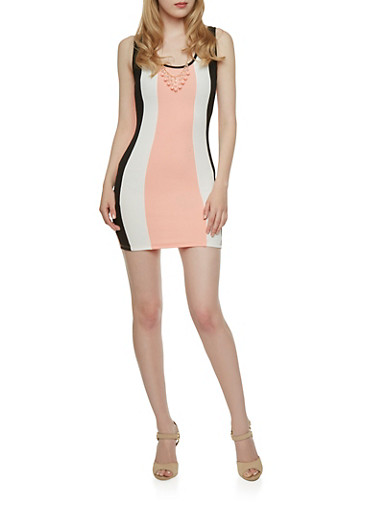 Colorblock Dress with Necklace,BLUSH,large