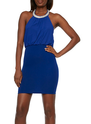 Chiffon Halter Top Mini Dress with Rhinestone Neck,BRIGHT BLUE,large