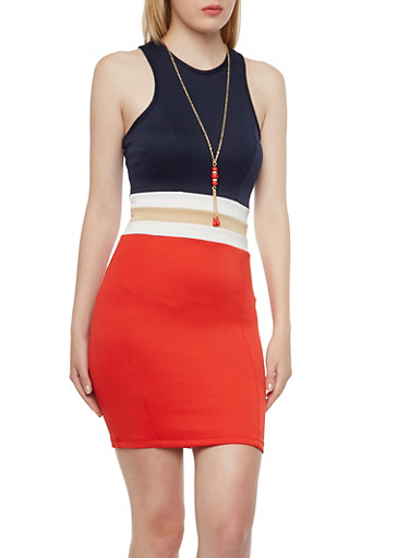 Color Block Bodycon Dress with Removable Necklace,RED,large