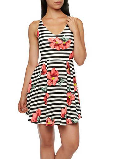 Sleeveless Dress in Striped Floral Print,RED,large