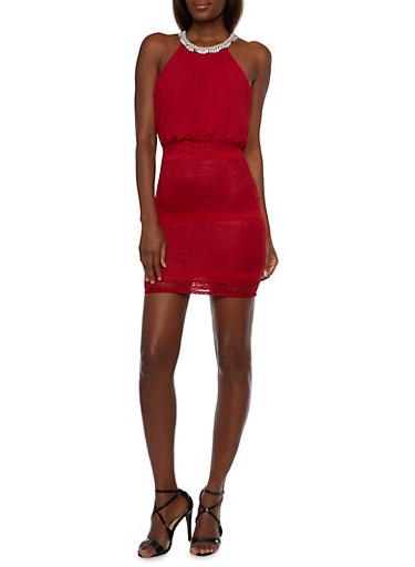 Embellished Halter Blouson Dress,BURGUNDY,large