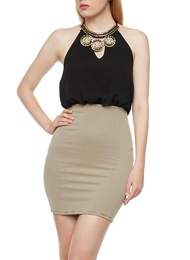 Halter Dress with Embellished Bib Necklace Design,BLACK,large