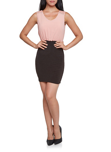 Sleeveless Color Block Mini Dress with Crystal Accents,MAUVE,large