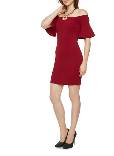 Off the Shoulder Dress with Bell Sleeves and Necklace,BURGUNDY,large