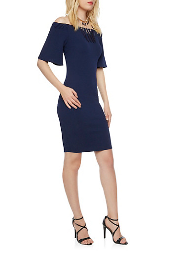 Off the Shoulder Midi Dress with Necklace,NAVY,large