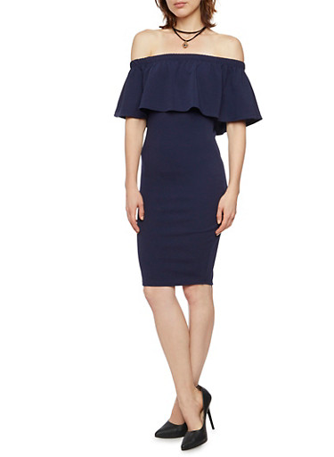 Off the Shoulder Dress with Layered Necklace,NAVY,large