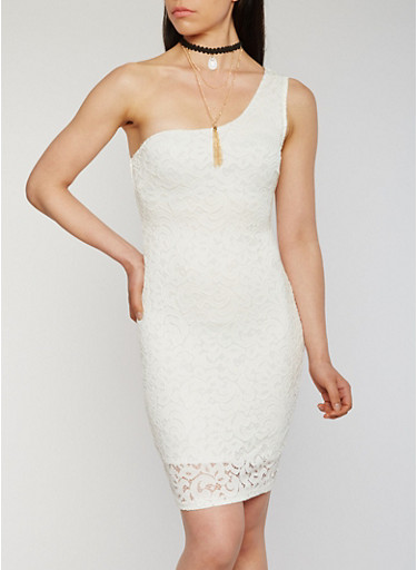 One Shoulder Lace Sheath Dress with Choker,OFF WHITE,large