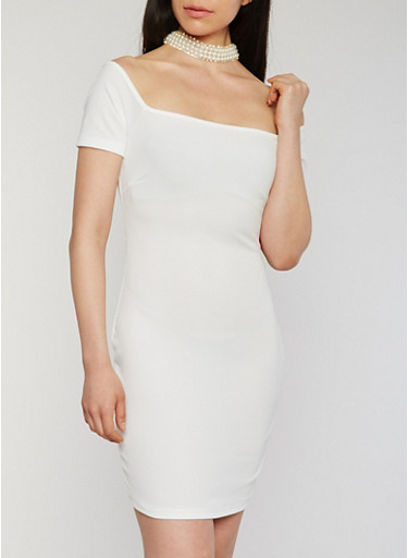 Short Sleeve Pearl Choker Dress,OFF WHITE,large