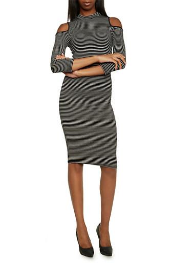 Cold Shoulder Dress with Mock Neck,BLACK/WHITE,large