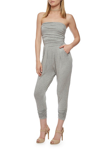 Strapless Ruched Jumpsuit,HEATHER,large