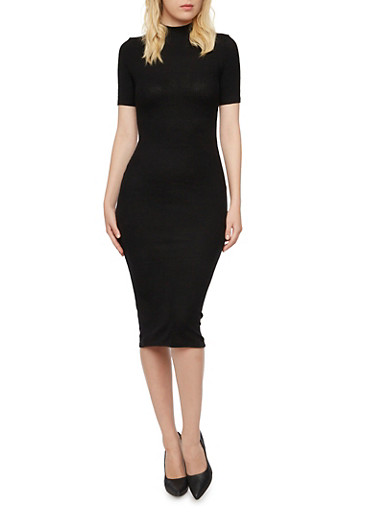 Ribbed Midi Dress with Mock Neck,BLACK,large
