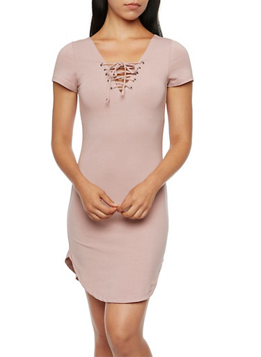 Lace-Up T-Shirt Dress,MAUVE,large