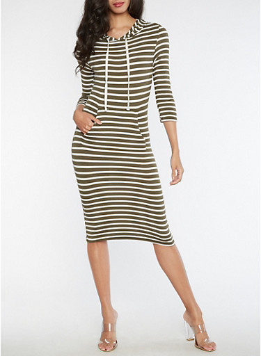 Long Sleeve Hooded Striped Dress,OLIVE WHITE,large