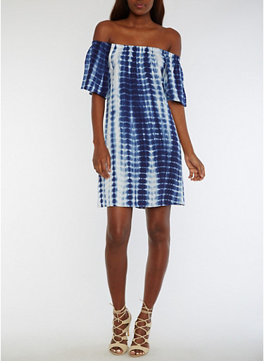 Off the Shoulder Tie Dye Dress,NAVY,large