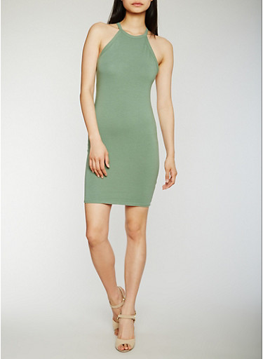 Sleeveless Racerback Mini Dress,SAGE,large