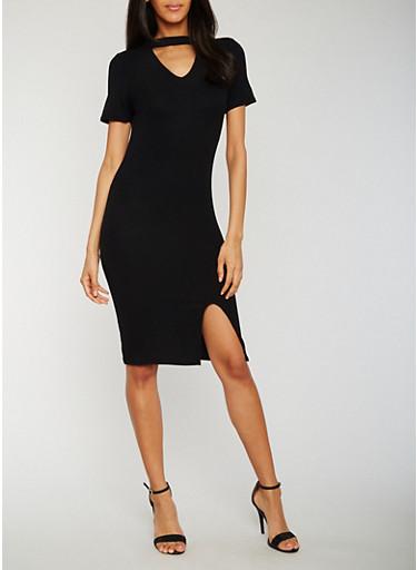 Rib Knit Choker Dress with Front Slit,BLACK,large